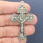 Ornate Crucifix Pendant Wholesale in Antique Silver Pewter