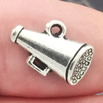 Cheer Charm Pendant Antique Silver Pewter Small Megaphone Charm