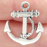 Silver Anchor Charms Bulk in Antique Pewter