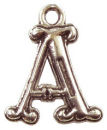 Initial Charm Antique Silver Pewter A Letter Charm