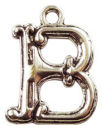 Initial Charm Antique Silver Pewter B Letter Charm