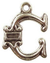 Initial Charm Antique Silver Pewter C Letter Charm