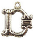 Initial Charm Antique Silver Pewter D Letter Charm