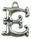 Initial Charm Antique Silver Pewter E Letter Charm