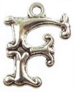 Initial Charm Antique Silver Pewter F Letter Charm