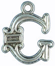Initial Charm Antique Silver Pewter G Letter Charm