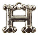 Initial Charm Antique Silver Pewter H Letter Charm