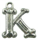 Initial Charm Antique Silver Pewter K Letter Charm