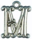 Initial Charm Antique Silver Pewter M Letter Charm