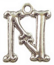 Initial Charm Antique Silver Pewter N Letter Charm
