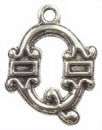 Initial Charm Antique Silver Pewter Q Letter Charm