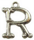 Initial Charm Antique Silver Pewter R Letter Charm