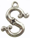 Initial Charm Antique Silver Pewter S Letter Charm