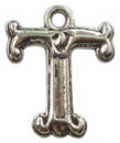 Initial Charm Antique Silver Pewter T Letter Charm