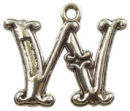 Initial Charm Antique Silver Pewter W Letter Charm