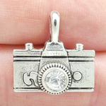 Camera Charm in Antique Silver Pewter with Rhinestone