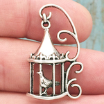 Bird Cage Charm in Antique Silver Pewter Bird Charm
