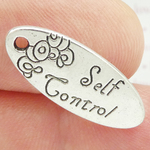 Self Control Charm Affirmation in Antique Silver Pewter