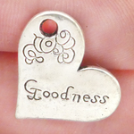 Goodness Heart Charm in Antique Silver Pewter