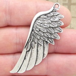 Angel Wing Charm Large in Antique Silver Pewter