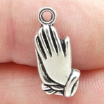 Praying Hands Christian Religious Charm in Antique Silver Pewter