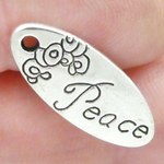 Peace Affirmation Charm in Antique Silver Pewter