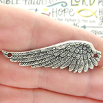 Angel Wing Pendant Wholesale in Antique Silver Pewter Large Horizontal