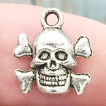 Skull Charms for Jewelry Making Antique Silver Pewter