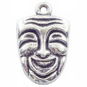 Comedy Drama Mask Charm in Antique Silver Pewter
