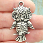 Owl Charms for Jewelry Making in Antique Silver Pewter Medium