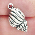 Cone Shell Charm in Antique Silver Pewter