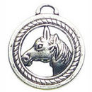 Disk with Horse Charm Antique Silver Pewter