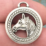 Disk Horse Head Charm Silver Pewter