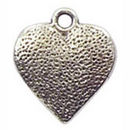 Textured Heart Charm Pendant with Antique Silver Pewter Small