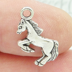 Rearing Horse Charm Silver Pewter