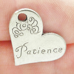Heart Patience Affirmation Charm in Antique Silver Pewter