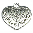 Heart Happy Anniversary Affirmation Charm in Antique Silver Pewter