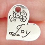 Joy Heart Charm in Antique Silver Pewter