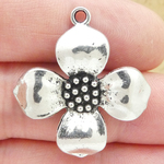 Dogwood Flower Charm Antique Silver Pewter Large Flower Charm