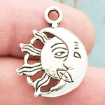 Sun and Moon Charm in Antique Silver Pewter