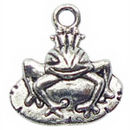 Prince Frog Charm in Antique Silver Pewter