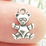 Teddy Bear Charms Wholesale in Antique Silver Pewter