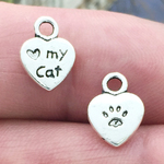 Love My Cat Charm Small in Antique Silver Pewter