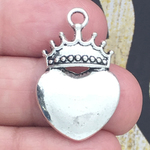 Crown on a Heart Charm Pendant in Antique Silver Pewter