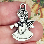 Angel Charm in Antique Silver Pewter with Horn