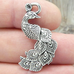 Silver Peacock Charms Wholesale in Pewter