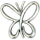 Open Wing Butterfly Charm Pendant Antique Silver Pewter Medium