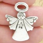 Angel Charms Bulk with Star Accent in Antique Silver Pewter