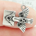 Love Letter Charm with Dove in Silver Pewter