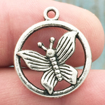 Disk with Butterfly Charm Pendant Antique Silver Pewter